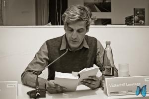 """Mathias Gatza liest aus """"Der Augentäuscher"""". Photo: Laila Mahfouz"""