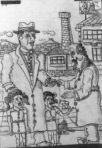 """Eine Zeichnung aus der Serie """"Balkan life"""" von Pandelis Dimitriou."""